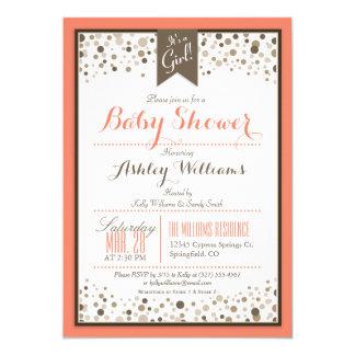 Coral Orange, White, & Taupe Modern Baby Shower Card