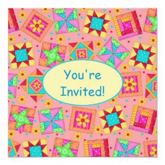 Coral Orange Yellow Patchwork Quilt Block Art Card