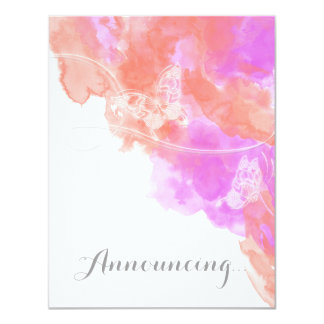 Coral Orchid Watercolor Butterfly Engagement Annou Card