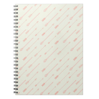 Coral Outlined Arrows Pattern Notebook