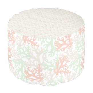 Coral Overlap Pastel Round Pouf