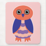 Coral Owl Mouse Pad