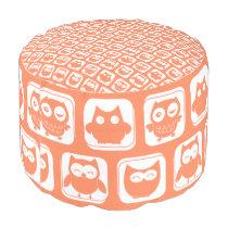 Coral Owl Pattern Pouf