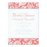 Coral Paisley Bridal Shower Invitations Custom Invitations