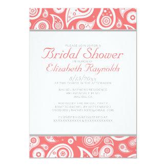 Coral Paisley Bridal Shower Invitations