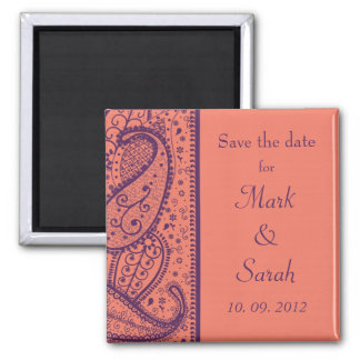 Coral Paisley Pattern Save the Date Magnet