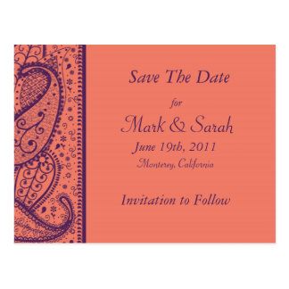 Coral Paisley Pattern Save The Date Post Card