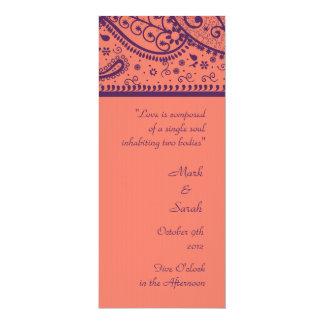 Coral Paisley Pattern Wedding Program