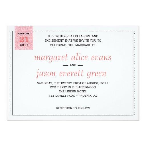 "Coral Paisley Wedding Invitation 5"" X 7"" Invitation Card"
