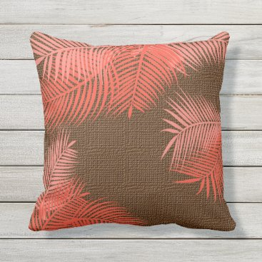 Beach Themed Coral Palm Leaves on Faux Brown Burlap Throw Pillow