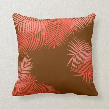 Beach Themed Coral Palm Leaves Throw Pillow