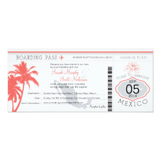 Coral Palm Tree Mexico Boarding Pass Wedding Card