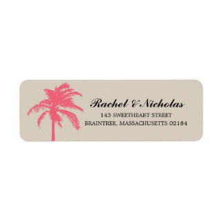 Coral Palm Tree | Return Address Label