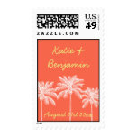 Coral palm trees summer wedding chic save the date stamp