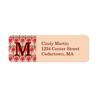 Coral pansies - retro wallpaper pattern return address label