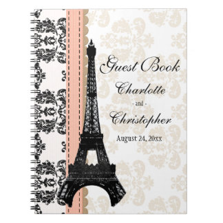 Coral Parisian Eiffel Tower Wedding Guest Book Spiral Notebook