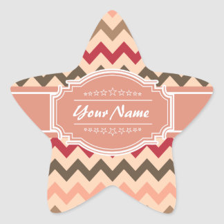 Coral Pastel Chevron Pattern personalized Star Sticker