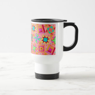 Coral Patchwork Quilt Travel Mug