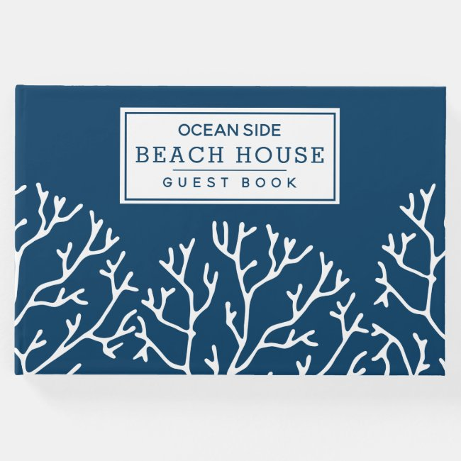 Coral Pattern - Beach House Vacation Rental Blue Guest Book