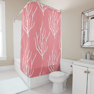 Coral Pattern Florida Beach House Shower Curtain