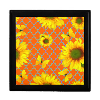Coral Pattern Yellow butterflies Sunflowers Gift Box