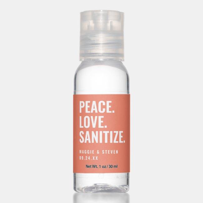 Coral Peace Love Sanitize Wedding Favor Hand Sanitizer