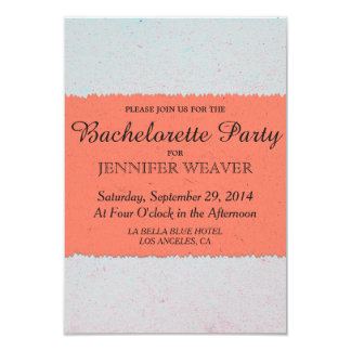 Coral Peach and Slate Grey Edgy Pattern 3.5x5 Paper Invitation Card