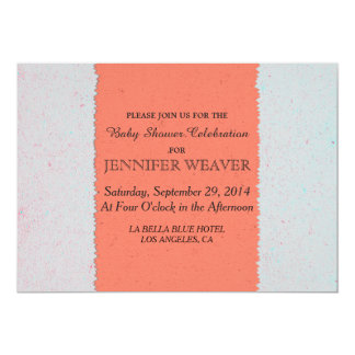 Coral Peach and Slate Grey Edgy Pattern 5x7 Paper Invitation Card