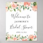 "Coral Peach Blush Floral Bridal Shower Sign<br><div class=""desc"">Coral Peach Blush Garden Roses Floral Bridal Shower Sign Poster</div>"
