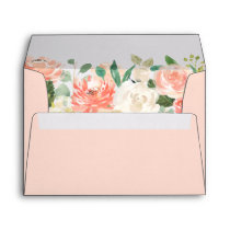 Coral Peach Blush Watercolor Floral 5x7 Envelope