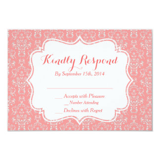 Coral Peach Damask RSVP Card