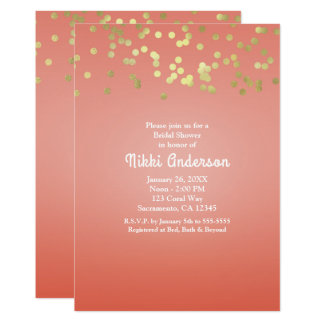 Coral Peach Dipped Chic Gold Dots Party Invitation