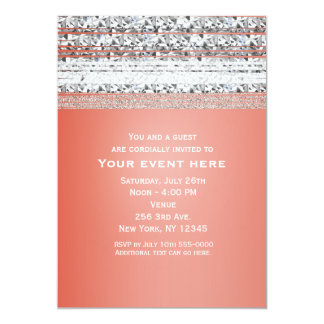 Coral Peach Dipped Silver Bling Party Invitations