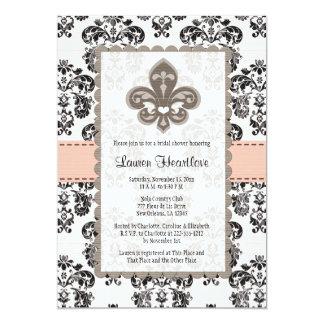 Coral Peach Fleur de Lis Bridal Shower Invitations