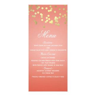 Coral Peach & Gold Dots Chic Invitation Menu Card
