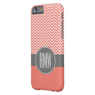 Coral Peach Gray Chevrons Custom Triple Monogram Barely There iPhone 6 Case