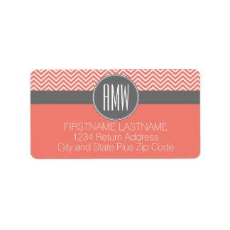 Coral Peach Gray Chevrons Custom Triple Monogram Label