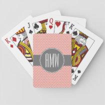 Coral Peach Gray Chevrons Custom Triple Monogram Playing Cards