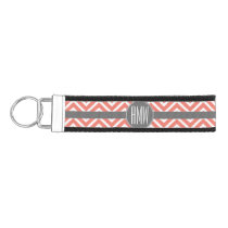 Coral Peach Gray Chevrons Custom Triple Monogram Wrist Keychain