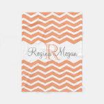 Coral Peach Gray Monogram Name Keepsake Chevron Fleece Blanket