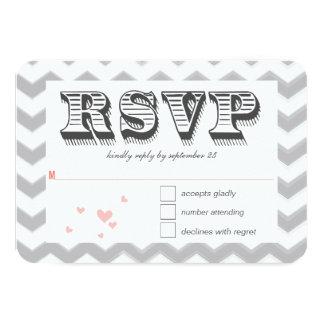Coral Peach Grey Zig Zag Typography Wedding RSVP Invitation