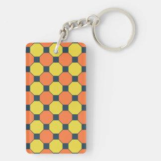 Coral Peach Lemon Zest Yellow Blue Gray Tile Double-Sided Rectangular Acrylic Keychain