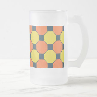 Coral Peach Lemon Zest Yellow Blue Gray Tile Frosted Glass Beer Mug
