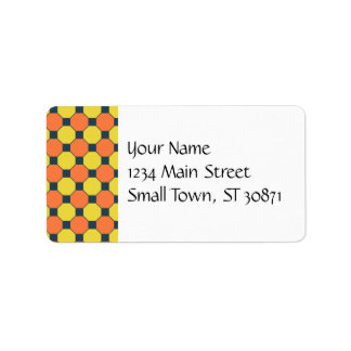 Coral Peach Lemon Zest Yellow Blue Gray Tile Address Label