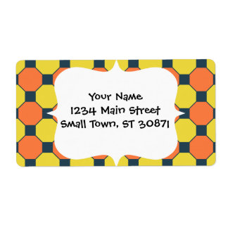 Coral Peach Lemon Zest Yellow Blue Gray Tile Custom Shipping Labels