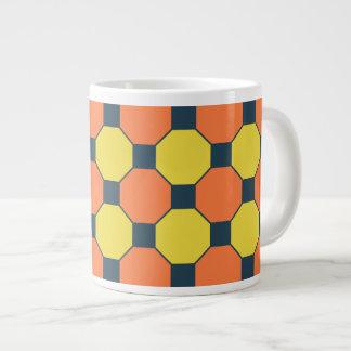 Coral Peach Lemon Zest Yellow Blue Gray Tile Large Coffee Mug