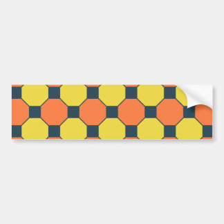 Coral Peach Lemon Zest Yellow Blue Gray Tiles Bumper Sticker