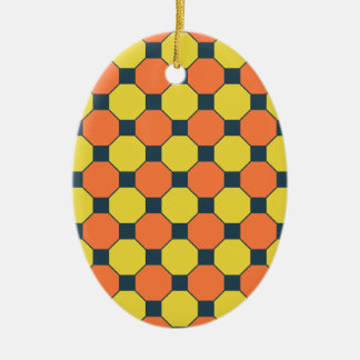 Coral Peach Lemon Zest Yellow Blue Gray Tiles Ceramic Ornament