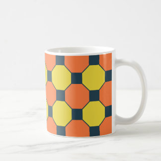 Coral Peach Lemon Zest Yellow Blue Gray Tiles Coffee Mug