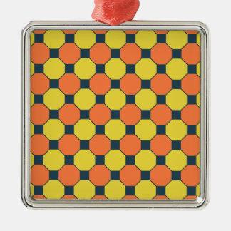 Coral Peach Lemon Zest Yellow Blue Gray Tiles Metal Ornament